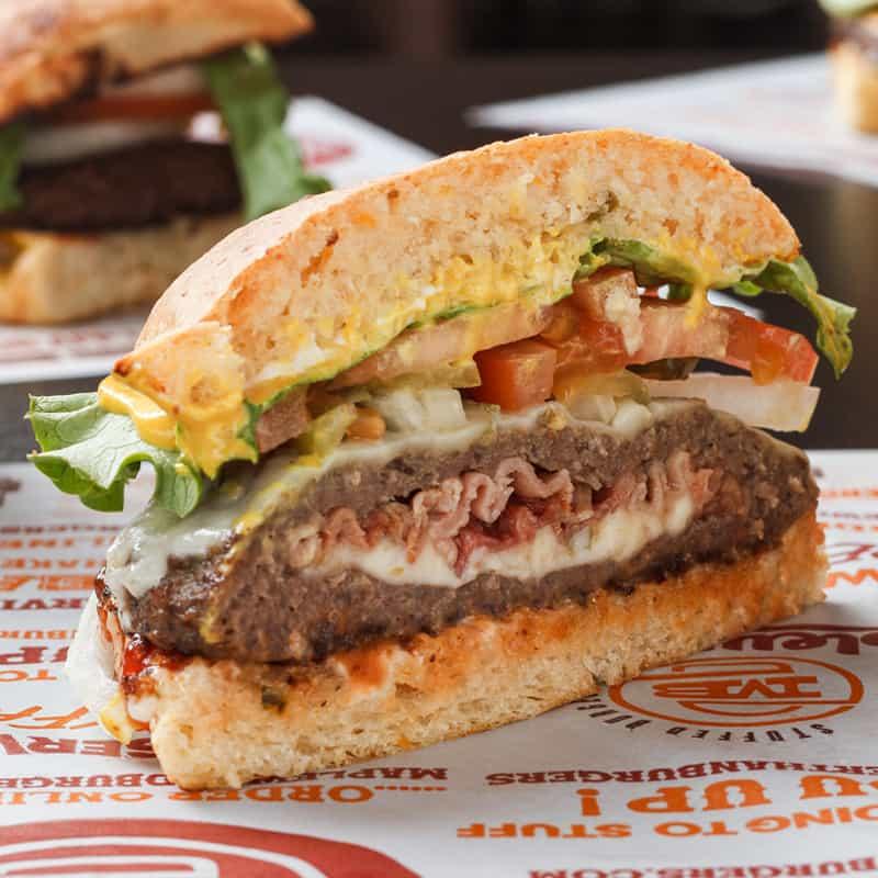 maplewood bacon stuffed burger